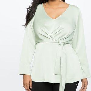 NWT Eloquii Light Sage Drape Front Tunic Size 16